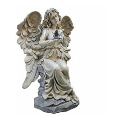 EttansPalace - Heavenly Angel Garden Statue - This exceptional, angel sculpture masterpiece is an inspired choice sure to bathe your garden in prayer. Our inspirational angel statue is a sure garden focal point, from feathered wings and earnest expression in joyful celebration of all the bounty God has provided! Sculpted with a wonderfully detailed face, exquisite feather wings and dove of peace, our angel figurine is cast in quality designer resin with a two-tone stone finish. Makes a heavenly gift and a reminder of thankfulness in home or garden!