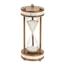 "Benzara - 60 Min Hour Glass Steel Nautical Ship Sand Timer Metal 13"" - 60 min hour glass steel nautical ship sand timer metal 13"". Maritime ship metal sand timer standing on round base. Hour glass steel cycle takes 60 minute to complete. Dimension: 13""H x 6""W."