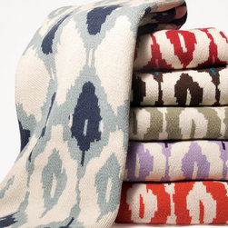 Ikat Knit Throw - This Eco-Chic Ikat throw is knit with a blend of recycled cotton yarn and made in the USA.