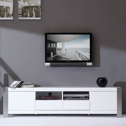 "B-Modern - Composer 79"" High-Gloss White TV Stand - BM-100-WHT - Contemporary design"