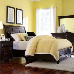 Broyhill Furniture - Farnsworth Eastern King Storage Sleigh Bed in Inky Black St - Farnsworth Collection Eastern King Bed