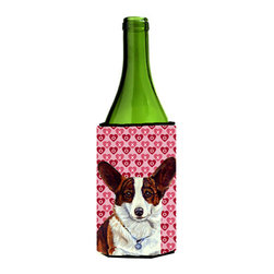 Caroline's Treasures - Corgi Hearts Love and Valentine's Day Portrait Wine Bottle Koozie Hugger - Corgi Hearts Love and Valentine's Day Portrait Wine Bottle Koozie Hugger Fits 750 ml. wine or other beverage bottles. Fits 24 oz. cans or pint bottles. Great collapsible koozie for large cans of beer, Energy Drinks or large Iced Tea beverages. Great to keep track of your beverage and add a bit of flair to a gathering. Wash the hugger in your washing machine. Design will not come off.