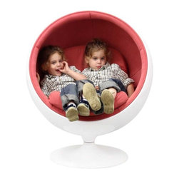 Modway - Kaddur Kids Chair in Pink - This retro lounge chair resembles a space-age pod creating a spark of interest in anyone who sees it. The fabric lined inner shell offers a sense of privacy and retreat as you relax into the plush cushions. Its exterior is a wonder; a molded fiberglass shell and matching fiberglass base with an integrated swivel mechanism.