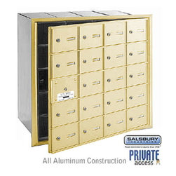 Salsbury Industries - 4B+ Horizontal Mailbox (Includes Master Commercial Lock) - 20 A Doors (19 usable - 4B+ Horizontal Mailbox (Includes Master Commercial Lock) - 20 A Doors (19 usable) - Sandstone - Front Loading - Private Access