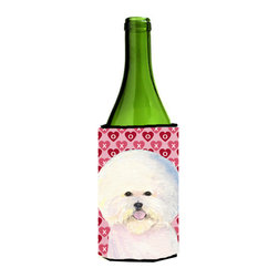 Caroline's Treasures - Bichon Frise Hearts Love and Valentine's Day Wine Bottle Koozie Hugger - Bichon Frise Hearts Love and Valentine's Day Portrait Wine Bottle Koozie Hugger SS4526LITERK Fits 750 ml. wine or other beverage bottles. Fits 24 oz. cans or pint bottles. Great collapsible koozie for large cans of beer, Energy Drinks or large Iced Tea beverages. Great to keep track of your beverage and add a bit of flair to a gathering. Wash the hugger in your washing machine. Design will not come off.