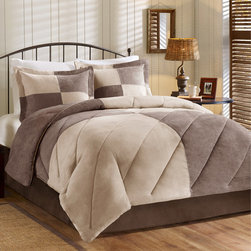 Woolrich - Woolrich Patchwork Suede Down Alternative Comforter Mini Set - The Woolrich patchwork suede collection will provide a warm and casual look to any room. The comforter and sham features a soft microsuede in brown and taupe colors that are pieced together to form an overscale patchwork. The comforter is filled with down alternative to give you extra warmth and comfort and is quilted with a diagonal pattern. The comforter and shams reverse to a solid brown color on soft microsuede fabric. 100% polyester microsuede