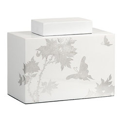 iMax - Meshaw Small Lidded Jar - A brilliant white lacquered finish with a delicate silver leaf floral pattern give the Mershaw lidded jar an elegant yet bold presence.
