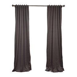 "Exclusive Fabrics & Furnishings, LLC - Anthracite Grey Blackout Curtain - SOLD PER PANEL. 100% Polyester. 3"" Pole Pocket with  Back Tabs. Unlined. Imported. Weighted Hem. Dry Clean Only."