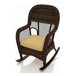Forever Patio - Leona Wicker High Back Rocker, Canvas Wheat Cushions - The Forever Patio Leona Wicker Outdoor High Back Rocker with Gold Sunbrella cushions (SKU FP-LEO-HBR-MC-CW) is perfect for relaxing out on your patio or deck, providing deep seating and soothing rocking motion. The mocha-colored wicker is UV-protected, and features two tones that give it a more natural, traditional look. Each strand of this outdoor wicker is made from High-Density Polyethylene (HDPE) and is infused with its rich color and UV-inhibitors that prevent cracking, chipping and fading ordinarily caused by sunlight. This patio rocker is supported by thick-gauged, powder-coated aluminum frames that make it more durable than natural rattan. This chair includes a fade- and mildew-resistant Sunbrella cushion, adding comfort to your outdoor space.