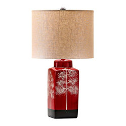 Asian Thomas Branch Details Red Table Lamp