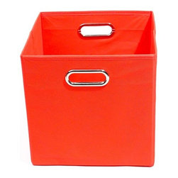 Modern Littles - Bold Solid Red Folding Storage Bin - Pack 'em up! Your kids will love to keep their toys in this fun, colorful storage bin. It easily slides under beds or cribs and folds flat for easy storage.