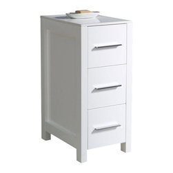 "Fresca - Fresca Torino 12"" White Bathroom Linen Side Cabinet - This side cabinet comes in a white finish.  It has 3 spacious drawers and a sleek ceramic countertop."