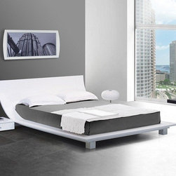 Story White Platform Bed & 2 Nightstands - This bed features a high quality lacquer coat on the frame of the bed, back support for the bed to hold up the headboard, and 2 detached 1 drawer low profile lacquered nightstands that are included in the price.