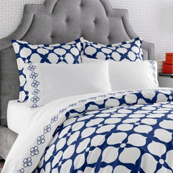 Jonathan Adler Bedding Hollywood Navy Duvet Cover Or Set - Only Jonathan Adler knows how to bring a happy and chic mood to a room. I'm loving the bold design of this bed sheet collection.