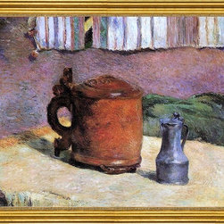 "Paul Gauguin-16""x20"" Framed Canvas - 16"" x 20"" Paul Gauguin Still, Clay Jug and Iron Mug framed premium canvas print reproduced to meet museum quality standards. Our museum quality canvas prints are produced using high-precision print technology for a more accurate reproduction printed on high quality canvas with fade-resistant, archival inks. Our progressive business model allows us to offer works of art to you at the best wholesale pricing, significantly less than art gallery prices, affordable to all. This artwork is hand stretched onto wooden stretcher bars, then mounted into our 3"" wide gold finish frame with black panel by one of our expert framers. Our framed canvas print comes with hardware, ready to hang on your wall.  We present a comprehensive collection of exceptional canvas art reproductions by Paul Gauguin."