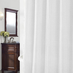 None - Cane White Geometric Shower Curtain - This shower curtain features an open crochet geometric pattern lattice fabric. With a beautiful surface interest and texture,the curtain lays over solid lining for privacy and features 12 button holes for hanging ease.