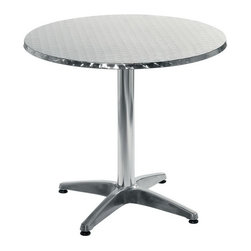 "Eurø Style - Allan 27.5"" Round Table in Stainless/Aluminum - The Allan 27.5"" Round Table in Stainless/Aluminum - Eurø Style is charming and captivating aluminum round table. Sleek table has an aluminum base with a round stainless top with wrap around edge."