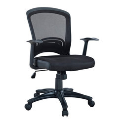 Modway Furniture - Modway Pulse EEI-758-BLK Office Chair in Black - EEI-758-BLK Office Chair in Black belongs to Pulse Collection by Modway Drive onward in your office tasks with this upright and ergonomic mesh office chair. Let the breathable mesh back and plush fabric cushion seat serve as a simple extension to your everyday home and business ventures. Pulse includes a passive lumbar support and two sturdy armrests to help keep your posture vertical and potent. Fitted with five hooded dual-caster wheels, give yourself the ability to easily glide over carpeted floors while correctly guessing your next destination. Set Includes: One - Pulse Mesh Office Chair with Height Adjustable Mesh Fabric Seat Office Chair (1)