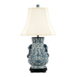 Oriental Danny - Blue and white porcelain lamp - Beautiful blue and white porcelain lamp in Azure Casey pattern. Hexagonal shape and dressed with a silk lamp shade. Recommend wattage: 100 watt ; 3-way switch; UL listed.