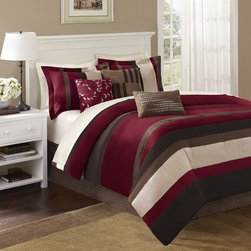 """Madison Park - Boulder Stripe 7 Piece Comforter Set in Red - You can't go wrong with Boulder Stripe. This stripe bed is made from piecing together the highest quality micro-suede, that gives this bed a super soft feel and great color. Features: -Available in Queen, King or California King sizes. -Set includes an oversized and over-filled comforter, two shams, a bed skirt and three accent pillows (18""""x18"""" square, 16""""x16"""" square and 12""""x20"""" oblong). -Material: 100% Polyester. -Color: Red. -Pieced microsuede. -Made from piecing together the highest quality micro-suede, that gives this bed a super soft feel and great color. -Dimensions: 90""""-104"""" Height x 90""""-92"""" Width."""