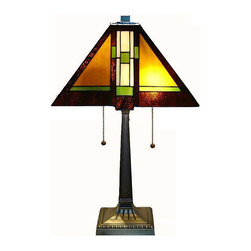 Warehouse of Tiffany - Tiffany-style Mission Table Lamp - Handcrafted using the same techniques that were developed by Louis Comfort Tiffany in the early 1900s, this beautiful Tiffany-style piece contains hand-cut pieces of stained glass, each wrapped in fine copper foil.