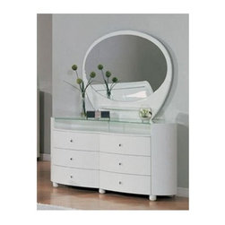 Global Furniture - Emily Contemporary White 2 Pc Emily Oval Dres - Glass top. Open shelf. Six drawers. Contemporary design. Constructed with MDF. Dressing Table: 63 in. W x 22 in. D x 32 in. H (216 lbs.). Mirror: 47 in. W x 39 in. H (57 lbs.)