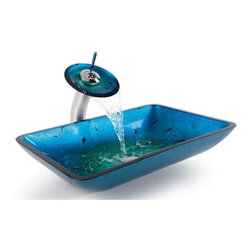 Kraus - Irruption Blue Rectangular Glass Sink and Waterfall Faucet (Chrome) - Finish: Chrome