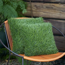 'Grass' Pillow - So maybe they're not cube-shaped, but these grass pillows certainly give off the Minecraft vibe.