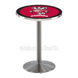 "Holland Bar Stool - Holland Bar Stool L214 - Stainless Steel Wisconsin  Inch Pub Table - L214 - Stainless Steel Wisconsin Inch Pub Table belongs to College Collection by Holland Bar Stool Made for the ultimate sports fan, impress your buddies with this knockout from Holland Bar Stool. This L214 Wisconsin ""Badger"" table with round base provides a commercial quality piece to for your Man Cave. You can't find a higher quality logo table on the market. The plating grade steel used to build the frame ensures it will withstand the abuse of the rowdiest of friends for years to come. The structure is 304 Stainless to ensure a rich, sleek, long lasting finish. If you're finishing your bar or game room, do it right with a table from Holland Bar Stool. Pub Table (1)"