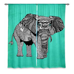 """DiaNoche Designs - Window Curtains Lined by Pom Graphic Design Elephant of Namibia Color - DiaNoche Designs works with artists from around the world to print their stunning works to many unique home decor items.  Purchasing window curtains just got easier and better! Create a designer look to any of your living spaces with our decorative and unique """"Lined Window Curtains."""" Perfect for the living room, dining room or bedroom, these artistic curtains are an easy and inexpensive way to add color and style when decorating your home.  This is a woven poly material that filters outside light and creates a privacy barrier.  Each package includes two easy-to-hang, 3 inch diameter pole-pocket curtain panels.  The width listed is the total measurement of the two panels.  Curtain rod sold separately. Easy care, machine wash cold, tumble dry low, iron low if needed.  Printed in the USA."""