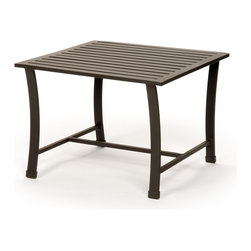 Caluco - San Michelle Square End Table - The San Michelle Square End Table combines style, durability, and comfort to provide unmatched value in outdoor seating.  Pictured in the charcoal grey aluminum.