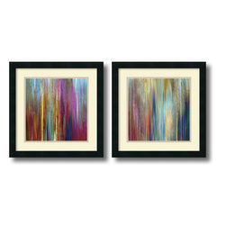 Amanti Art - John Butler 'Sunset Falls- set of 2' Framed Art Print 18 x 18-inch Each - Energize your decor with an abstract undulating waterfall of color with this framed art set by artist John Butler