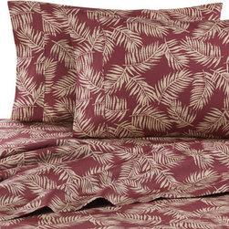 Nautical Print Standard Pillowcases - Proving that burgundy doesn't have to be all serious. I love the unexpected palm pattern on these sheets.