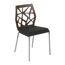 Eurostyle - Sophia Side Chair (Set Of 2), Walnut/Black Fabric/Chrome - First time clients will be impressed by your elegant office when they see these chairs in the waiting room. The refined design lets them know how successful and valuable you are — even before they sit down.