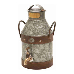 None - Galvanized Metal Milk Can - Lend a touch of rustic elegance to your home decor with this stylish and elegantly designed milk can. Made of galvanized metal to resistant weather damage and corrosion,this uniquely vintage piece can be displayed in any indoor or outdoor setting.