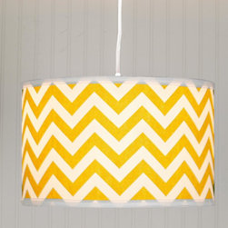 Chevron Fabric Drum Shade Pendant -
