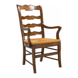 French Heritage - Beaujolais Ladderback Arm Chair, Chateau - This ladderback chair, with its scalloped beveled carving and rush seat, invites the comfort of the French Country atmosphere into the home; sit and enjoy the feeling of bright sunshine and gracious living.