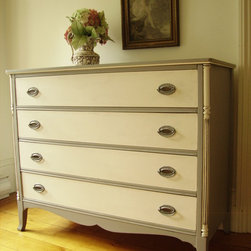 Elegant French Bureau - Reeded and turned columns, scalloped skirt & nicely flared legs ~ Monica Vida & Peter Balonjan