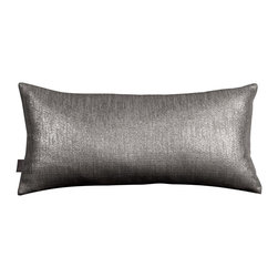 Howard Elliott - Glam Zinc Kidney Pillow - Change up color themes or add pop to a simple sofa or bedding display by piling up the pillows in a multitude of colors, textures and patterns. This Glam Pillow features a linen-like texture in a soothing graphite color with a metallic finish