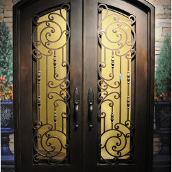 Door Design- Barcelona - 5' x 8' Barcelona design with full glass.  The hardware is Emtek Sandcast Tuscany.  The color is oil-rubbed bronze.