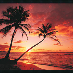 Amanti Art - Tropical Beach - Sunset Framed with Gel Coated Finish - The warm tones of this stunning tropical sunset invite you to relax and enjoy the sea breeze and natural beauty of this exotic getaway.