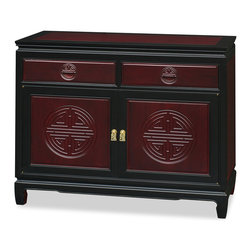 China Furniture and Arts - Rosewood Longevity Design Sideboard - This handsome solid rosewood cabinet features the Chinese symbol of longevity on the doors and drawers. All hand carved with traditional Chinese joinery technique for long lasting durability. A removable shelf is behind the brass-handled doors. Its classic cherry rosewood finishes with black ebony trim round out its quiet beauty. Wonderful for dining room or bedroom storage.