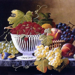 """Severin Roesen Still Life with Strawberry Basket   Print - 18"""" x 24"""" Severin Roesen Still Life with Strawberry Basket premium archival print reproduced to meet museum quality standards. Our museum quality archival prints are produced using high-precision print technology for a more accurate reproduction printed on high quality, heavyweight matte presentation paper with fade-resistant, archival inks. Our progressive business model allows us to offer works of art to you at the best wholesale pricing, significantly less than art gallery prices, affordable to all. This line of artwork is produced with extra white border space (if you choose to have it framed, for your framer to work with to frame properly or utilize a larger mat and/or frame).  We present a comprehensive collection of exceptional art reproductions bySeverin Roesen."""