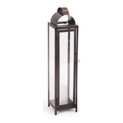 """Large """"Slim"""" Lantern - This Large """"Slim"""" Lantern is a traditional rectangular metal lantern featuring glass sides for all around viewing. Top of the lantern is removable for easy access to candle and allows you to move lantern with ease."""