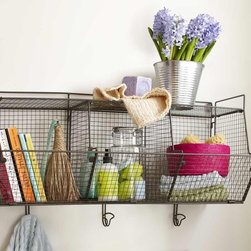 """Viva Terra - 3-Bin Wire Hanging Shelf - Our three-bin wire shelf provides aclean solution for any messy situation.Lightweight with a smallfootprint, the wire unit storestowels, soaps and other bathroomessentials or clears clutter from any room. Simple assembly required.30""""L x 13""""D x 17""""H"""