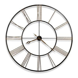"HOWARD MILLER - Howard Miller Postema 49"" Wrought-Iron Wall Clock - This incredible 49"" diameter wrought iron clock is finished in aged black with applied antique gold numerals."