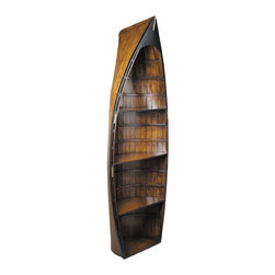 """Bosun's Gig Boat Shelf - The Bosun's Gig Boat Shelf measures 27""""L x 12""""W x 73""""H. It is French  finished, buffed and waxed to a pleasant softness and feel. There are  four shelves you can display your keepsakes on if you count the bottom  of the boat. This boat shelf is a wonderful addition to any decor  environment."""