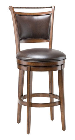 Hillsdale - Hillsdale Calais 30 Inch Swivel Bar Stool in Distressed Medium Brown Cherry - Hillsdale - Bar Stools - 4298830S - Handsome and understated the Calais Bar Stool features a beautiful distressed medium brown cherry finish back with upholstered center panel and rope trim top. Both seat cushion and upholstered back panel feature a dark brown vinyl. The seat offers 360 degree swiveling capabilities for your convenience. Ready to astound you with its radiant attractiveness the Calais Bar Stool is sure to garner praise from all who see it.