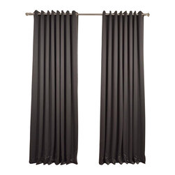 Exclusive Fabrics & Furnishings, LLC - Anthracite Grey Grommet Doublewide Blackout Curtain - SOLD PER PANEL. 100% Polyester. Grommet. Unlined. Imported. Weighted Hem. Dry Clean Only.