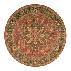 """Nourison - Nourison Living Treasures LI01 7'10"""" x 7'10"""" Rust Area Rug 67415 - Unexpected contrasts of rich, subtle color bring this magnificent tribal design in soft, shimmering wool into focus. Gorgeous shades of meadow green and turquoise with a dominant center shield of cinnamon rust play in fantastic intricacy across this absolutely stunning rug."""